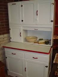 Narrow Hoosier Cabinet White W Red Trim Hoosier Sellers Cabinet Cupboard Enamel Top Roll