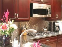 Kitchen With Stainless Steel Backsplash Stainless Steel Backsplash With Cherry Cabinets Cherry Kitchen