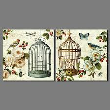 Bird Cage Decor Retro Flowers Animal Birds Pictures Birdcage Decoration Canvas