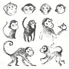 set funny monkey new year chinese drawn sketch stock vector art