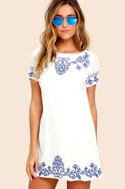 shift dress blue and ivory dress embroidered dress shift dress 59 00
