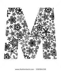 snowflake pattern letter m stock vector 156504158 shutterstock