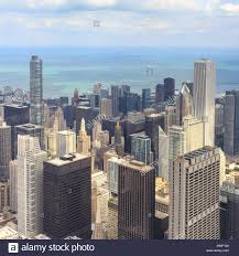 aerial view of the downtown chicago cityscape from willis tower in