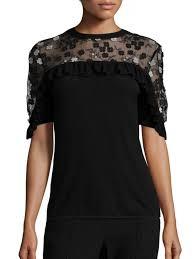 black sweater womens elie tahari flora ruffled applique merino wool sweater black