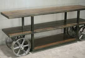 Industrial Console Table Industrial Console Table With Wheels Trolley Cart Media