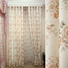 breathable cotton and linen floral shabby chic curtains