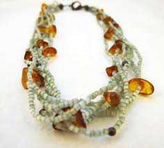 amber necklace images Copper green beaded multi strand amber necklace amber necklace JPG