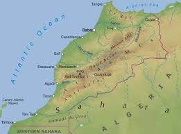 tunisia physical map africa atlas mountains