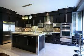 professional kitchen design with dark cabinets and small round