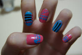 pink and blue nails in my heart a place