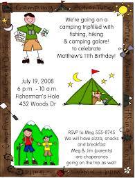 hiking camping birthday party invitations u2013 bagvania free