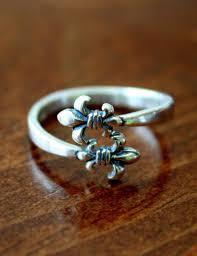 fleur de lis gifts fleur de lis adjustable ring sterling silver fleur de lis jewelry