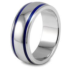 mens blue wedding bands west coast jewelry men s stainless steel blue enamel groove domed ring