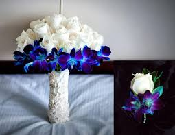 blue flowers for wedding ivory and blue orchid reception wedding flowers wedding