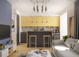 modern small kitchen interior using glass countertop combined with