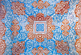 turkish ottoman style ornaments on peeled wall stock photo