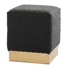 black leather square ottoman emmit black woven leather square ottoman zin home arteriors 6141