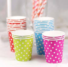 party cups polka dot disposable paper party cups blue pink yellow green