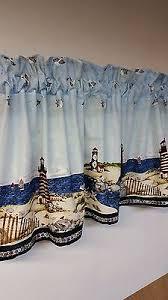 Blue Valance Curtains Nautical Curtains Nautical Lighthouse Blue Valance Curtain