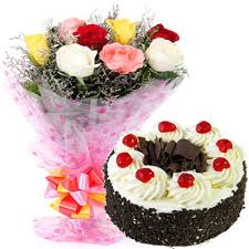 buy send order 500gms black forest cake with mix roses price