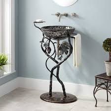 grapevine wrought iron sink stand gunmetal bathroom