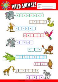 wild animals esl printable worksheets for kids 2