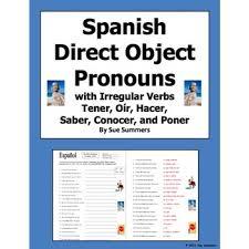 direct object pronouns u0026 irregular present tense verbs worksheet