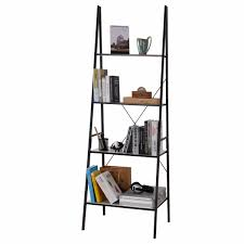 Shallow White Bookcase by Lifewit 4 Shelf Ladder Bookcase Storage Rack Library Book