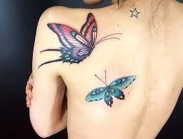 feminine flying butterflies shoulder back for