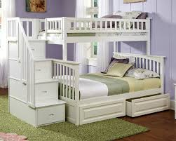 Cute White Wood Storage Twin Twin Loft Bunk Beds Stairs Drawers - Twin over full bunk bed with storage drawers