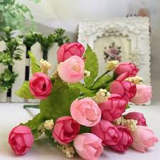 fake flowers for home decor hot 15 heads unusual artificial rose silk fake flower leaf home