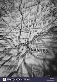 Nantes France Map by Map Showing Nantes France In Black And White Stock Photo Royalty