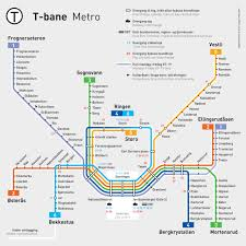 Metro Route Map by Official Map Oslo T Bane Metro System An Transit Maps