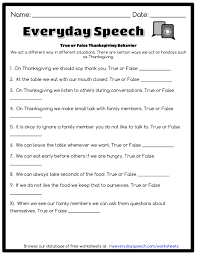 true or false thanksgiving behavior everyday speech everyday