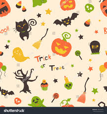 cute bright cartoon halloween seamless pattern stock vector