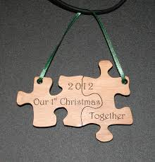 our first christmas together puzzle ornament laser engraved and
