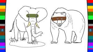 wild animals coloring pages elephant with bear name and sounds