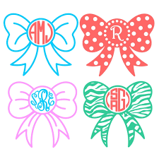 bow monogram bow ribbon monogram svg cuttable frame