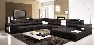 Large Black Leather Sofa Polaris Black Contemporary Leather Sectional Sofa Vig Furniture