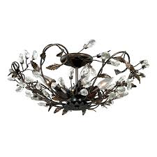 Flush Mount Ceiling Light Shade Shop Cascadia Jardin 19 In W Architectural Bronze Shades Crystal