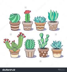cute cactus and succulent set eight doodle colorful flowers in