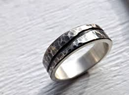 rustic mens wedding bands buy a custom rustic wave ring silver mens wedding band