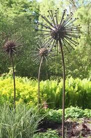 seed steel metal seed heads garden yard statues