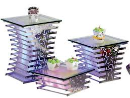 yubao led acrylic buffet riser for sale buffet display stand with