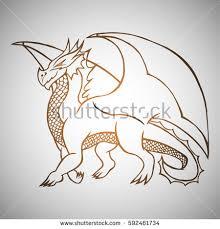 illustration hand drawn dragon tattoo design stock vector