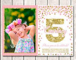 5th birthday invite etsy