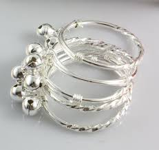 child bangle bracelet images Baby children child silver bracelets jingle bell charms size can jpg
