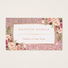 makeup hair salon floral gold glitter makeup artist hair salon business card
