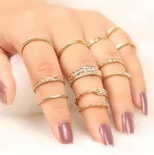 ring set golden engraved alloy circle finger ring set rosegal
