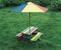 childrens wooden picnic table benches children s wooden rainbow garden picnic table bench parasol set kids
